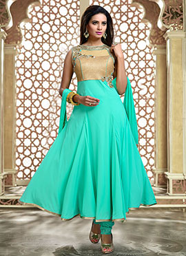 Teal Green N Beige Anarkali Suit