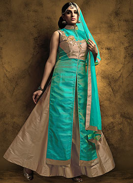Teal Green N Beige Art Silk Long Choli Lehenga