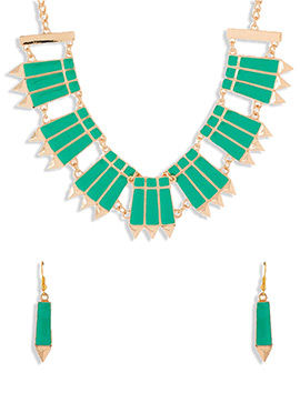 Teal Green N Golden Necklace Set