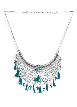 Teal Green N Silver Chain Necklace