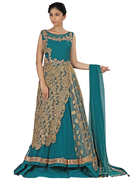 Teal Green Net N Silk Long Choli Lehenga