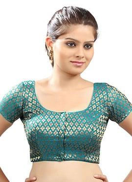Teal Green Readymade Blouse