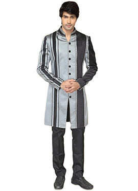 Grey Satin Sherwani