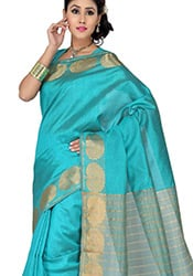 Blue Jacquard Tussar Silk Saree