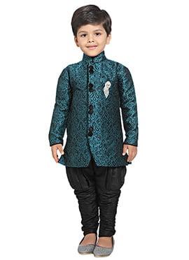 Teal N Black Breeches Style Kids Sherwani