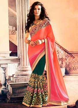 Teal N Peach Embroidered Half N Half Saree