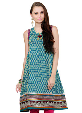 Teal Printed Kurti From Home India