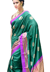 Teal Tussar Silk Jacquard Indian Saree