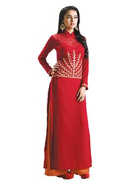 Tejaswi Prakash Wayangankar Red Palazzo Suit