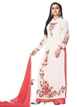 Tejaswi Prakash Wayangankar White Palazzo Suit