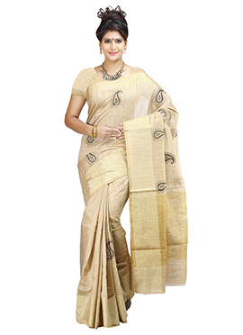 Textured Beige Cotton Saree
