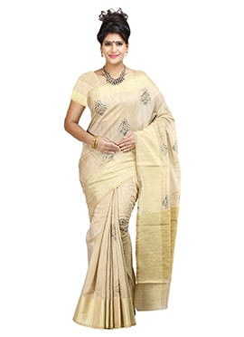 Textured Cotton Beige Saree