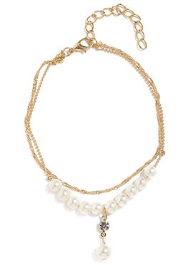 Toniq Golden Color Pearls N Stone Stud Anklets