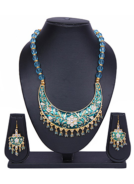 Traditsiya Blue N Gold Color Necklace Set