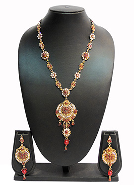 Traditsiya Golden N Brown Colored Necklace Set