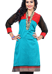 Trend setting blue art silk kurti