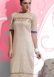 Trendy Beige Cotton Churidar suit