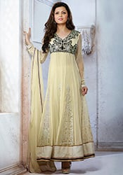 Trendy Madhubala Cream Ankle Length Anarkali
