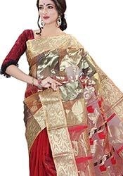 Trendy Multicolored Silk Cotton Half N Half Saree