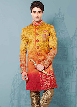 Tri Colored Brocade Sherwani