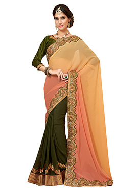 Tri Colored Embroidered Half N Half Saree
