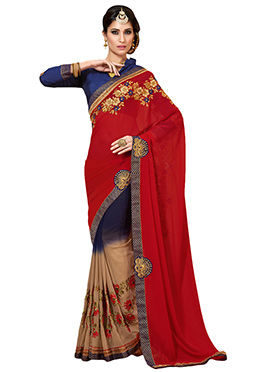 Tri Colored Half N Half Saree