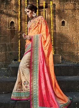 Tri Colored Heavy Embellished Half N Half Saree