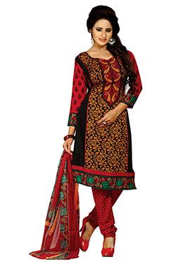 Tri Colored Printed Crepe Churidar Suit