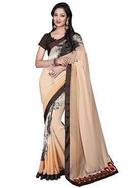 Tri Colored Printed Saree