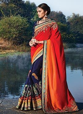 Tri Colored Silk Half N Half Saree