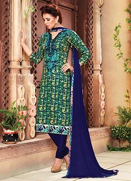 Tricolor Cotton Churidar Suit