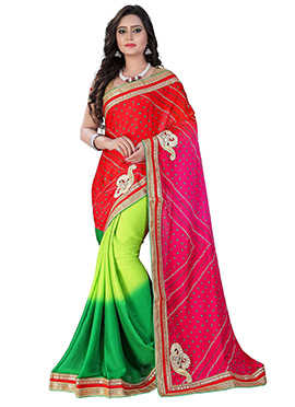 Tricolor Half N Half Bandhini Saree