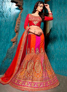 Tricolor Net Embroidered Lehenga Choli