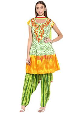 Tricolored Cotton Printed Semi Patiala Suit