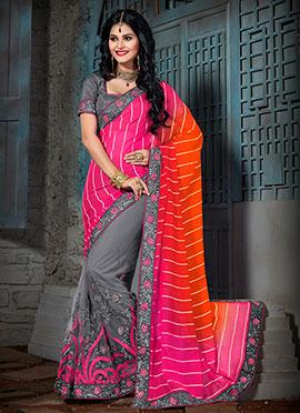 Tricolored Embroidered Half N Half Saree