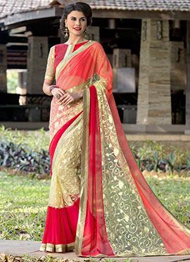 Tricolored Embroidered Saree