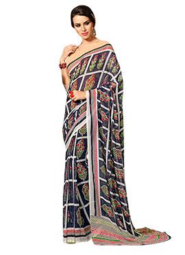 Tricolored Foliage Printed Saree