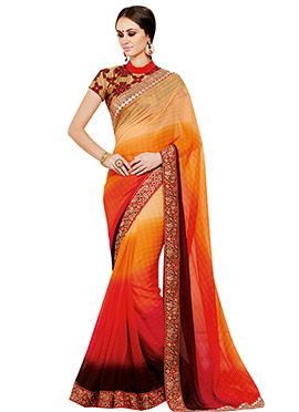 Tricolored Georgette Border Saree