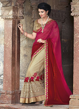Tricolored Georgette N Net Half N Half Saree