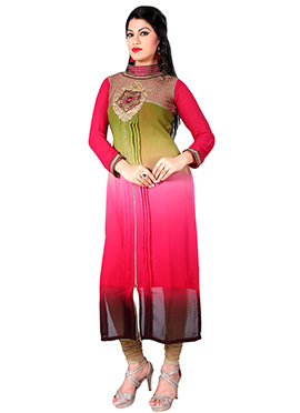 Tricolored Ombre Georgette Kurti