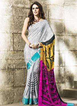 Tricolored Ombre Printed Saree