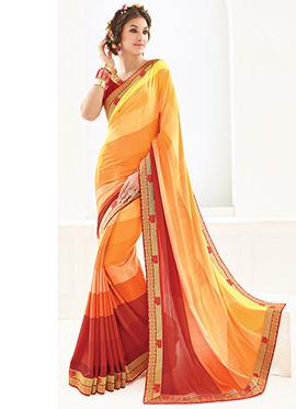 Tricolored Printed Saree