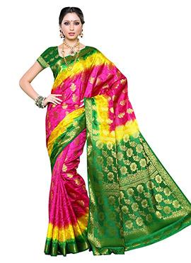 Tricolored Tussar Raw Silk Saree