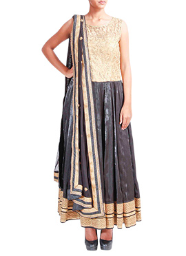 Tritiya Black Satin Silk N Net Anarkali