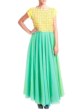 Tritiya Yellow N Green Anarkali