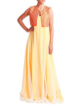 Tritiya Orange N Yellow Ankle Length Anarkali
