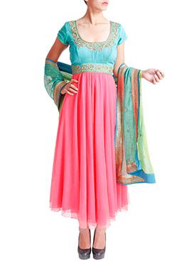 Tritiya Pink N Turquoise Ankle Length Anarkali