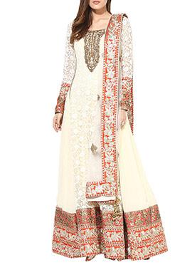 True Browns Cream Embroidered Anarkali Suit