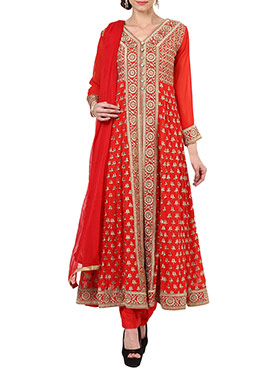 True Browns Red Embroidered Anarkali Suit