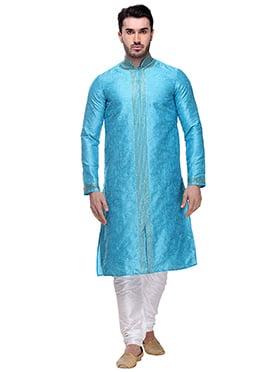 Turquoise Art Dupion Silk Kurta Pyjama